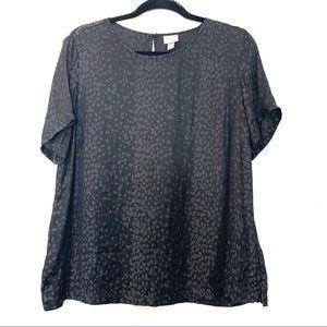 Women's black silky cheetah print top